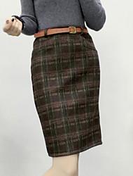 Damen Röcke - Einfach Knielang Wolle Mikro-elastisch