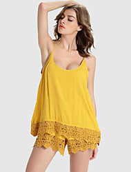 Women's Solid Yellow Jumpsuits,Sexy Strap Sleeveless