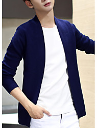 Men's Casual/Daily Cardigan,Solid Long Sleeve Cotton