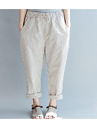 Pantalon Aux femmes Large Chic de Rue Coton Non Elastique