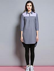 BURDULLY® Женский Рубашечный воротник Длинные Рубашка и Блузка серый-1636