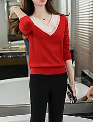 Damen Standard Pullover-Ausgehen / Lässig/Alltäglich Einfach Einfarbig Rot / Schwarz / Grau V-Ausschnitt Langarm BaumwolleFrühling /