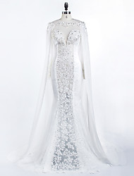 Trumpet / Mermaid Wedding Dress Court Train Jewel Chiffon with Appliques / Beading / Button / Lace