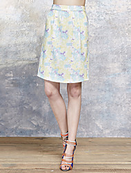 Women's Floral Blue / Yellow Skirts,Simple Above Knee