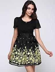 Trapèze Robe Femme Décontracté / Quotidien / Grandes Tailles Sophistiqué,Fleur Col en U Au dessus du genou Manches Courtes Jaune Polyester