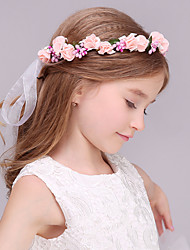 Flower Girl's Foam Headpiece-Wedding Wreaths 1 Piece Pink Flower 43cm