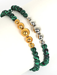 Beadia 1Pc 6mm Synthetic Malachite Stone Beads & 6/8/10mm Metallic Color CCB Plastic Beads Strand Bracelet(19cm)
