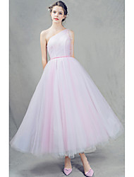 Prom Dress A-line One Shoulder Ankle-length Tulle with Beading / Pleats