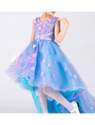 Performance Dresses Children's Performance Tulle Draped 1 Piece Blue Performance Sleeveless Natural Dress