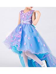 Fantasias Vestidos Crianças Actuação Tule Pano 1 Peça Azul Espetáculo Sem Mangas Natural Vestidos