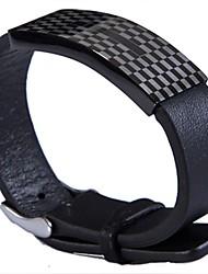 Fashion Men's Grid Pattern 316L Stainless Steel Leather Bracelets