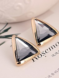 Women's Stud Earrings Crystal Fashion Statement Jewelry Gemstone Gold Plated 18K gold Triangle Shape Jewelry For Daily Casual