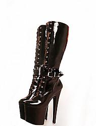 Feminino-Botas-Plataforma Botas da Moda Sapatos clube-Salto Agulha Plataforma-Preto Vermelho-Couro Envernizado-Casamento Para Esporte