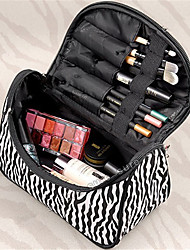 Fashion Ladies Nylon Cosmetic Bag Zebra Stripes Gold Makeup Bag