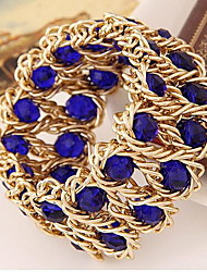 Strand Bracelets 1pc,Bracelet Fashionable Round Alloy / Rhinestone Jewellery