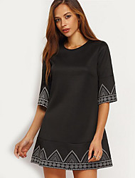 Women's Casual/Daily Street chic Loose Dress,Print Round Neck Above Knee ½ Length Sleeve Black Polyester Summer