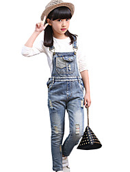 Girl's Cotton Spring/Autumn Fashion Hole Jeans Pants Solid Color Suspender Trousers Patchwork Overalls
