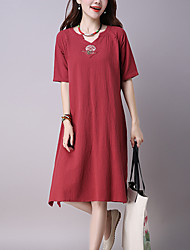 Women's Daily Chinoiserie Loose Dress,Embroidered V Neck Midi ½ Length Sleeve Blue / Red / Green Cotton / Linen Summer