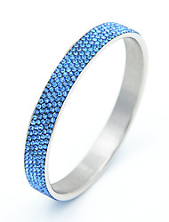 Full Shining Rhinestones Colorful Round Stainless Steel Bangle
