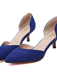 Women's Shoes Styles Fleece Pointed Toe Low Heel Dress/Office /Party/Casual Shoes Black/Almond/Blue Colors Available