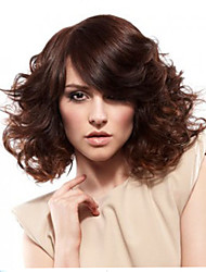 Short Fluffy Wigs Dark Brown Curly Hair Wigs Heat Resistant Realistic Wig Synthetic Wig with Bangs
