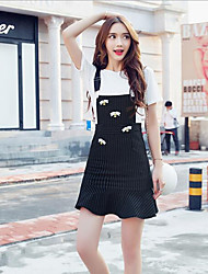 Women's Casual/Daily Simple / Cute A Line / Sheath / Black and White Dress