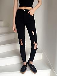 Pantalon Aux femmes Slim simple Coton Micro-élastique