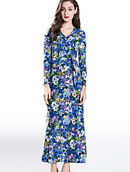 Women's Going out / Party/Cocktail Vintage Swing Dress,Print V Neck Maxi Long Sleeve Blue Cotton / Rayon Fall / Winter