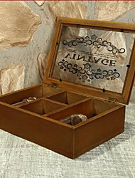 Six Grids Desktop Wooden Glass Printing Storage Box with Glass Lid
