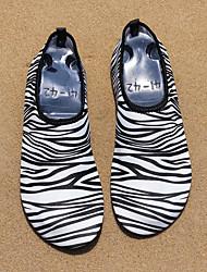 Masculino-Mocassins e Slip-Ons-Conforto-Rasteiro-Preto e Branco-Tecido-Para Esporte