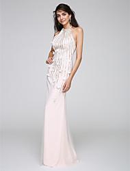 TS Couture Promo Soirée Formel Robe - Fleur Fourreau / Colonne Licou Longueur Sol Tulle avec Appliques Paillettes
