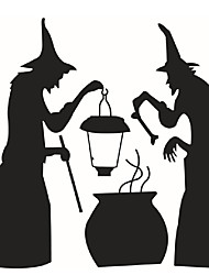 Cauldron Spider Witch Wall Sticker Halloween Home Decor Vinyl Removable Art Wall Decal For Children Bedroom