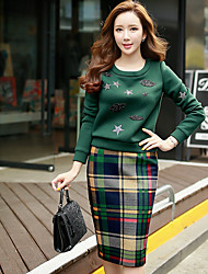 Women's Plaid Skirts,Vintage / Boho / Sophisticated Knee-length