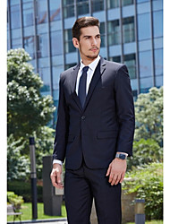 2017 Suits Standard Fit Notch Single Breasted Two-buttons Cotton Solid 2 Pieces Black Straight Flapped