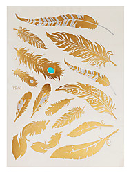 1pc Flash Metallic Waterproof Tattoo Gold Silver Peacock Feather Design Temporary Tattoo Sticker YS-51