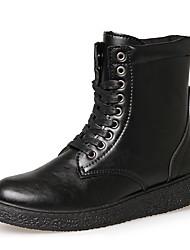 Черный Коричневый-Мужской-Для прогулок Для офиса Повседневный-Кожа-На плоской подошве-Удобная обувь Теплая зимняя обувь-Ботинки