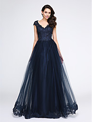 TS Couture Prom Formal Evening Dress - See Through A-line V-neck Floor-length Tulle with Appliques Beading