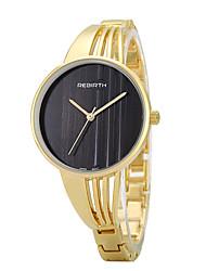 REBIRTH® Women's Fashion Watch Large Dail Golden Alloy Strap Quartz Wrist Watch