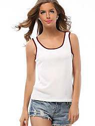 Women's Going out / Holiday Simple Elasticity Knit Tank Top,Color Block Round Neck Sleeveless