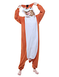 Kigurumi Pajamas New Cosplay® Chipmunk Mouse Leotard/Onesie Festival/Holiday Animal Sleepwear Halloween Orange Color Block Polar Fleece