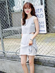 Women's Going out Cute Sheath Dress,Solid Round Neck Above Knee Sleeveless Gray Cotton / Linen Summer