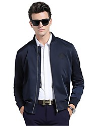 Men's Long Sleeve Casual / Work / Formal Jacket,Polyester Solid Black / Blue / Beige