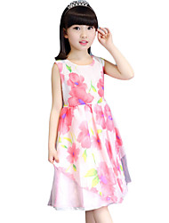 Girl's Casual/Daily Floral Dress,Faux Fur Summer Pink / White