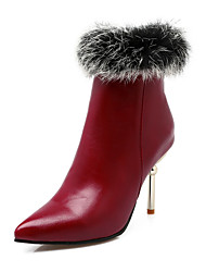 Women's Boots Fall / Winter Fashion Boots Leatherette Party & Evening Stiletto Heel Fur Black / Gray / Burgundy Walking