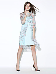 i-yecho simple robe lâche floral des femmes, col rond mini-polyester