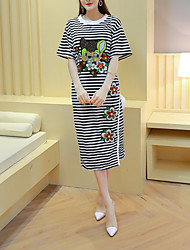 Women's Casual/Daily Simple Tunic Dress,Striped / Embroidered Round Neck Midi ½ Length Sleeve Black Rayon Summer
