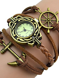 Popular More Colors Girl's Retro Watches Rudder Anchor Charm Leather Band Quartz Bracelet Wrist Watch
