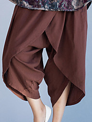 Women's Solid Brown Loose Pants,Street chic