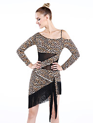 Latin Dance Dresses Women's Performance Rayon Tassel(s) / Leopard 1 Piece Long Sleeve Dress Dress length M-L: 98cm