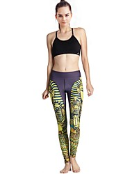 MIDUO Sports Women's Compression Yoga Bottoms Yellow-YD46 031